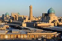 The historic centre of Bukhara viewed from the Ark citadel. Uzbekistan, Bukhara.