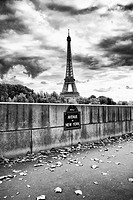 The Eiffel Tower as seen from the Avenue de New York along the Seine river.