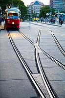 Tram in Ringstrasse, Vienna, Austria.