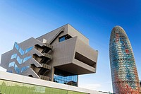 Modern building Disenny Hub and Agbar tower in Barcelona.