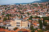 sarajevo and the building of the national library, bosnia and herzegovina, europe.