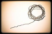 Abstract composition. Speech bubble, aluminium circle.
