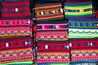 Handmade bags for sale at a night market stall at Mae Hong Son, Thailand.