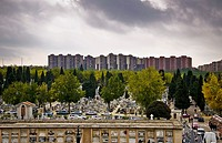 View from a hill of the Almudena cemetery, Madrid, Spain.