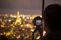Tourist photo of Eiffel Tower, night, from Tour Montparnasse, Paris, France