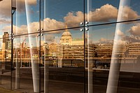London Skyline with the St.Paul´s Cathedral reflected in the window of Blackfriars Station,London,England.