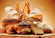 Wicker basket with variety of baking products.