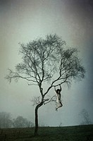 Woman hanging on the tree.