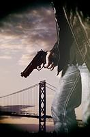 Man holding a gun.