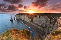 Sunrise over Etretat, France.