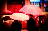 People with umbrellas. Rainy day, night. Barcelona, Catalonia, Spain.