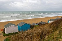 Sea coast with beachhuts, Milford on Sea, Hampshire, South England, UK.