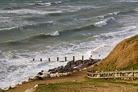 Sea coast from Cliff walk, Milford on Sea, Hampshire, South England, UK.