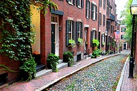 Historic Acorn Street on Beacon Hill in dowtown Boston Massachusetts MA.
