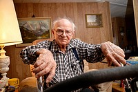 A 93-year-old man at his home.