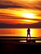 Sunset at Alfacs Bay from Trabucador isthmus. Ebro River Delta Natural Park, Tarragona province, Catalonia, Spain.
