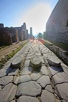 Narrow street of Pompeii, Italy.