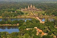Aerial views of Angkor Wat. Angkor Archaeological Park, located in northern Cambodia, is one of the most important archaeological sites in Southeast A...