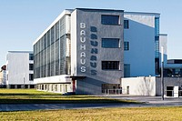 Restored landmark Bauhaus building, former home of the school that founded modernism, in Dessau, Germany