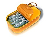 Illustration of open canned fish over white background.