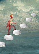 Illustration of man climbing up tablets towards cloudy sky representing drug addiction.