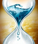 Illustrative image of water in hourglass representing water depletion.