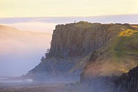 Highshield Crags in the Mist from Steel Rigg Hadrian´s Wall. Northumberland England United Kingdom.