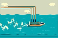 Illustrative image of ship sailing on water with graph indicating profit and loss in shipping industry.