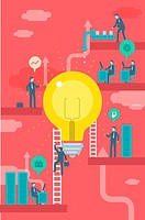 Illustrative image of businesspeople and bulb representing business idea and profit.