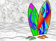 Illustration of multicolored surfboards and slippers at beach representing summer vacation.