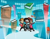 Illustrative image of children and books against binary code representing online learning.
