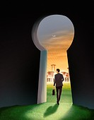 Illustration of businessman going out of keyhole representing hope.