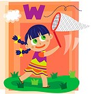 Illustration of girl catching letter W with butterfly net.