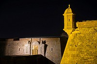 Entrance area of the military fortified castle of Sant Ferran, Figueres, Spain, at night.