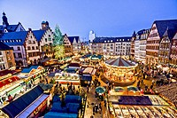 Christmas market on the Romans square in front of City Hall in Frankfurt, Germany.
