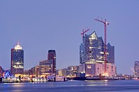 Elbe Philharmonic Hall, Kehrwiederspitze and Hanseatic Trade Center at Hamburg Harbour, Germany.