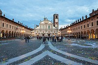 Central plaza after carnival´s act at dusk. Vigevano, Lombardia. Italy.