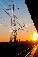 electrical tower next to the railway station at sunset in San Jeronimo in Seville