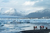 Jokullsarlon lagoon as the draining point of the Vatnajokull glacier, Iceland.