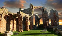 The Anglo Saxon Romanesque Abbey ruins of Holy Island, Lindisfarne, Northumbria, England.