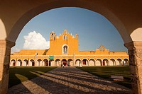 Entrance of the Monastery, Convent Of San Antonio De Padua, Izamal, Yucatan, Yucatan Province, Mexico, North America.