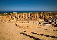 KHOMS, LIBYA - APRIL 03: Leptis Magna was a prominent city of the Roman Empire, its ruins are located in Khoms, east of Tripoli, on the coast where th...