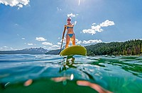 touring on the Stand Up Paddle Board at Redfish Lake in the Sawtooth Mountains near the town of Stanely in central Idaho.