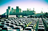 Cars waiting to board. Harbour, Barcelona, Catalonia, Spain.