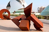 Modern art works at City of the Arts and the Sciences Valencia Spain.