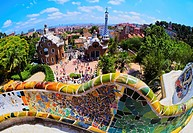 Parc Guell - famous park designed by Antoni Gaudi in Barcelona, Catalonia, Spain.