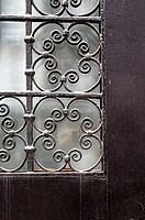Decorative Iron Grille Work on an Upper East Side Town House Front Door, Manhattan, New York City.