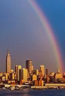 A rainbow over the New York City skyline after a summer rain shower.