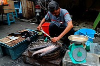 A fish vendor slaughter the first by stuck the knife into the mouth of fish, china town, chinese market, penang, malaysia