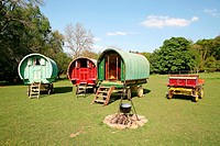 Old-fashioned Gypsy caravans, Dartmoor, Devon, UK.